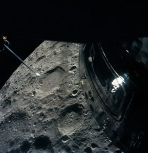 Apollo 13 passing by the Moon